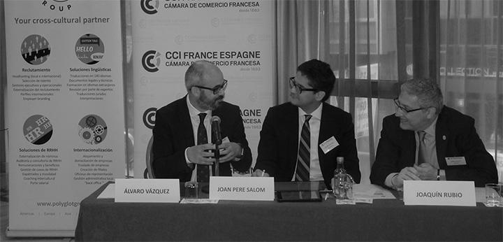Álvaro Vázquez Losada (Unlimiteck), Joan Pere Salom (Deloitte), Joaquín Rubio (Cofidis) discussing on the panel